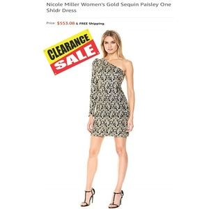 Nicole Miller Gold Sequin Paisley One Shldr Dress